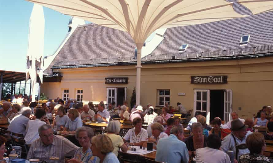 Beer garden of the Klosterbraustueberl at the monastery Andechs Bavaria