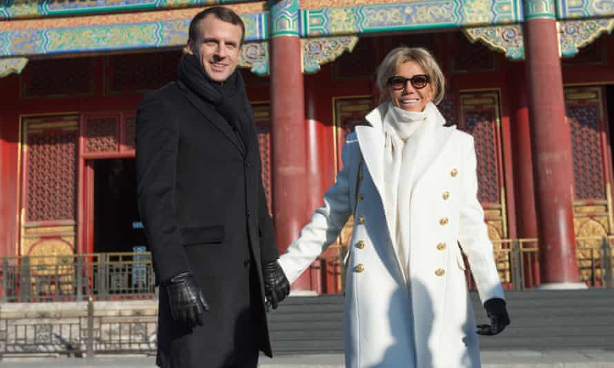 French president Emmanuel Macron, with his wife Brigitte, wants to make French a global language.