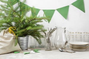 Reusable straws, drinking glass and plates, upcycled bunting and a cloth bag party kit.