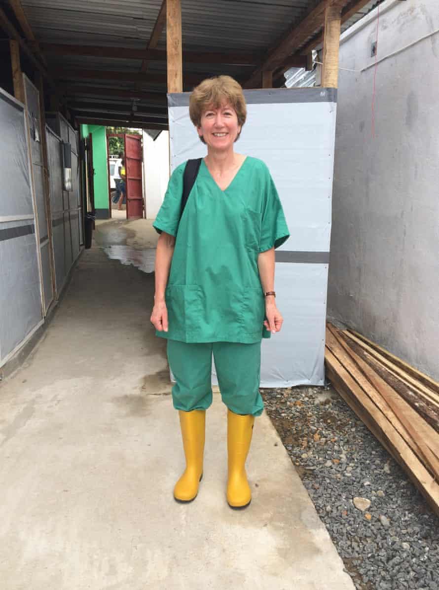 Sarah Boseley at an Ebola treatment centre in Sierra Leone, 2014