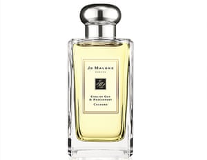 A glass bottle of perfume with Jo Malone on the label