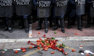 A pile of vegetables on the floor in Athens