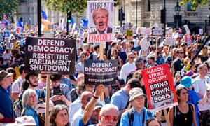 Some of the thousands of protesters outside Downing Street rallying against the move to suspend parliament