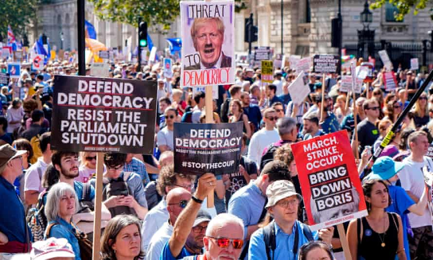 A protest outside Downing Street against the move to suspend parliament