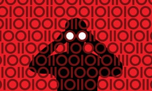 """Businessman with binoculars peering through binary pattern. Image shot 2011. Exact date unknown.Internationally, surveillance schemes have already been shown to be open to misuse which begs the question: is our data really """"safe"""" with these organisations?"""