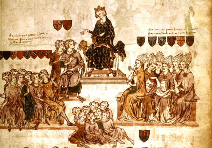Detail from an illustration of Philip IV presiding over a parliament session in 14th century France