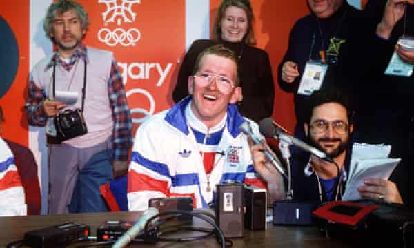 Eddie at an Olympic press conference.