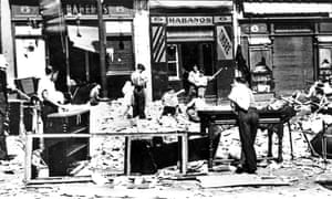 Bomb damaged street in Guernica during the Spanish Civil War 1937