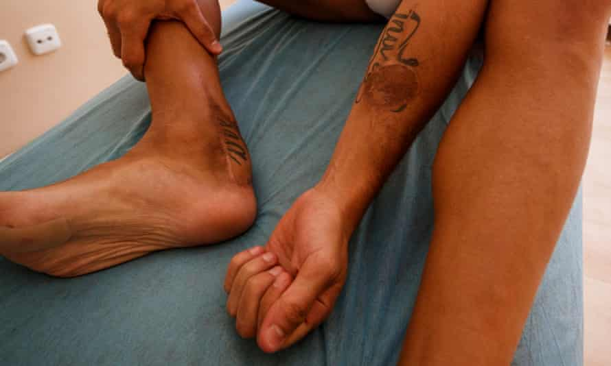Part of Cazorla's left arm has been grafted on to his right foot, splitting the tattoo of his daughter India's name.
