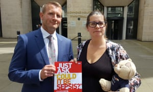 Melissa Mead, whose son William died of sepsis in 2014, outside the Department of Health with UK Sepsis Trust chief executive Ron Daniels.