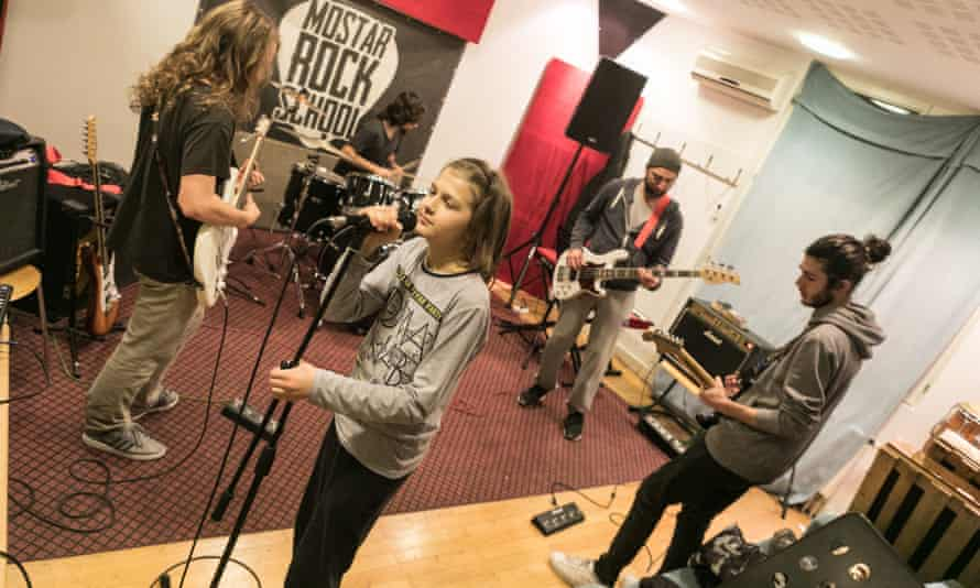 Students rehearse at Mostar Rock school, Bosnia-Herzegovina.