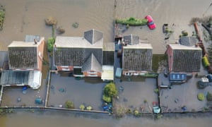 The flood water at Fishlake, in Doncaster, South Yorkshire.