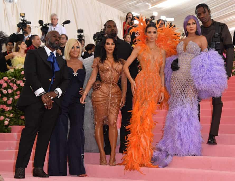 L-R: Corey Gamble, Kris Jenner, Kim Kardashian West, Kanye West, Kendall Jenner, Kylie Jenner and Travis Scott arrive for the 2019 Met Gala at the Metropolitan Museum of Art in New York.