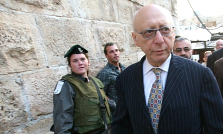 Gerald Kaufman walking past the entrance of the Abraham Mosque or the Cave of the Patriarchs, a holy site to both Muslims and Jews, in the West Bank town of Hebron in 2010.