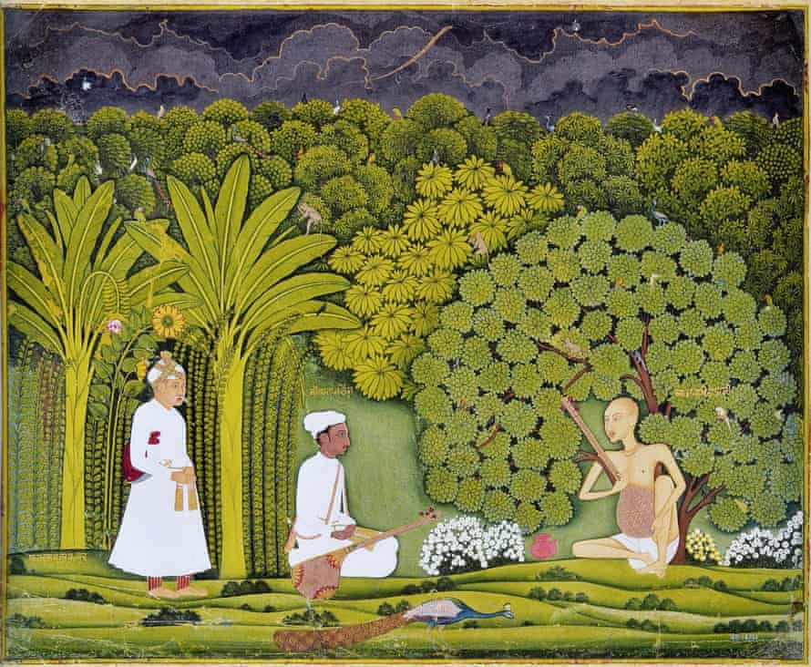 'Tansen, Beethoven and Hendrix appear …' An 18th-century painting of Tansen (centre) taking emperor Akbar (left) to visit his guru, Haridas.