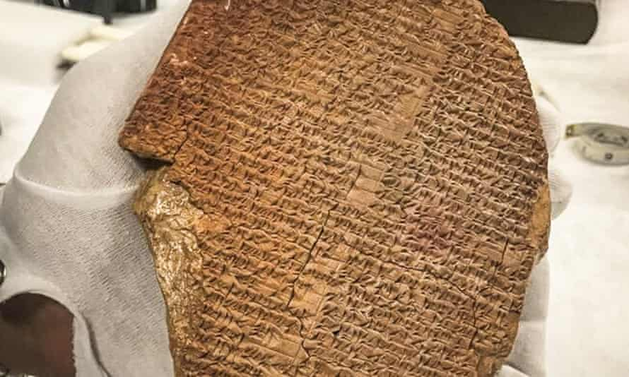 A portion of the Epic of Gilgamesh that was looted from Iraq and sold for $1.6m (£1.1m) in the US.