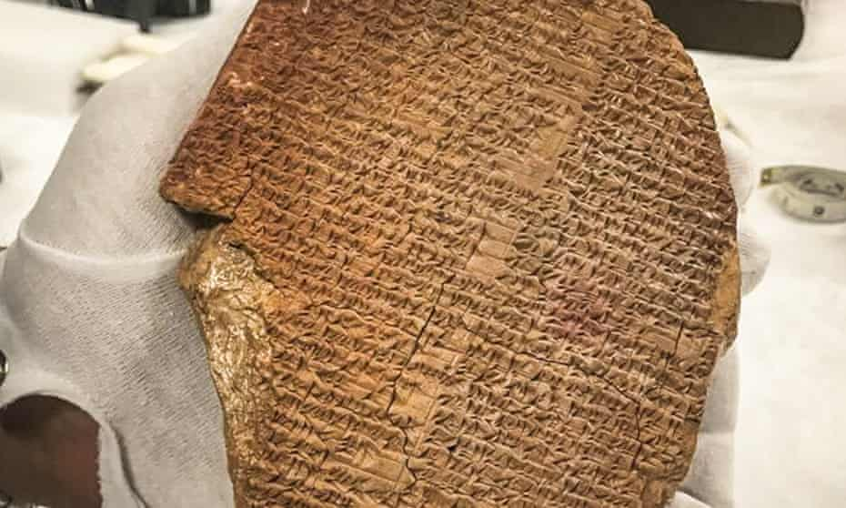 A 3,600-year-old tablet showing part of the epic of Gilgamesh