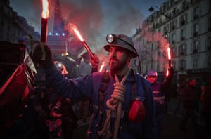 Sewer workers march through the streets of Paris on the 9th inter-professional day of strikes and demonstrations against President Macron's controversial pension reform.