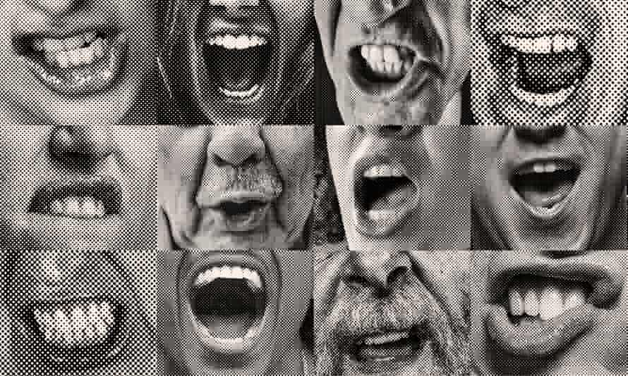 Graphic: montage of shouting mouths in close-up