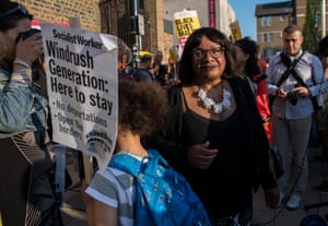 Diane Abbott attends the protest in Windrush Square, Brixton