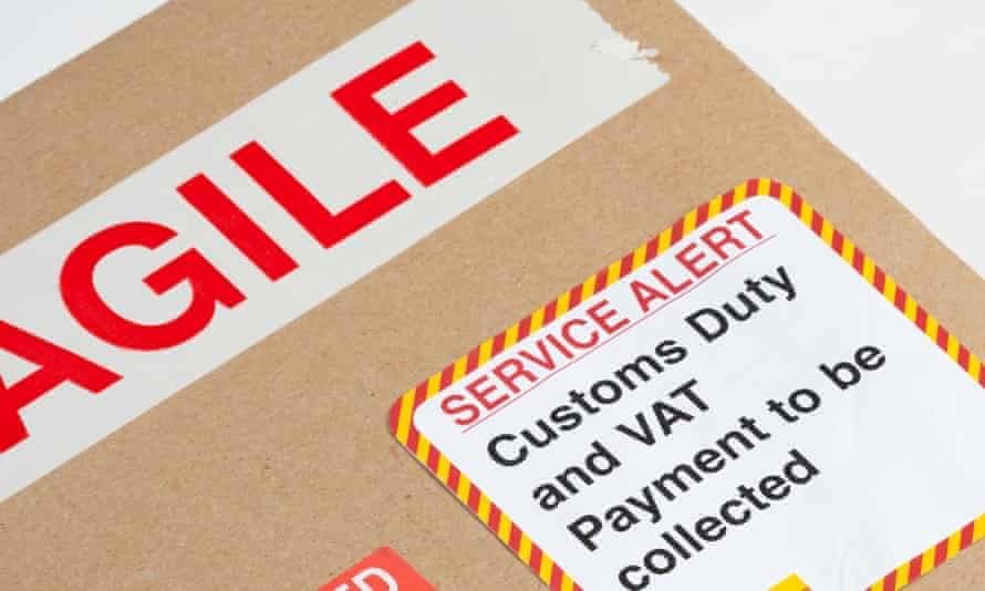 Red alert over customs duty which has to be paid on a parcel out for delivery.