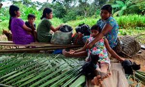 Ngäbe-Buglé indigenous people rest in Alto Terrón, Ngäbe-Buglé region, Panama, on 20 January 2020.