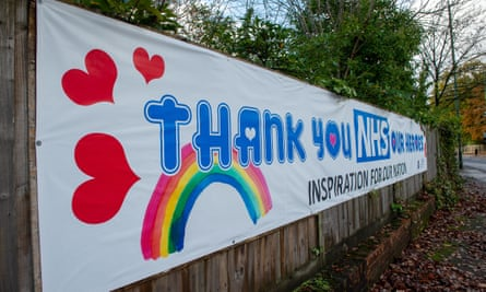 A 'Thank you NHS Our Heroes' banner outside the NHS Heatherwood hospital in Ascot.