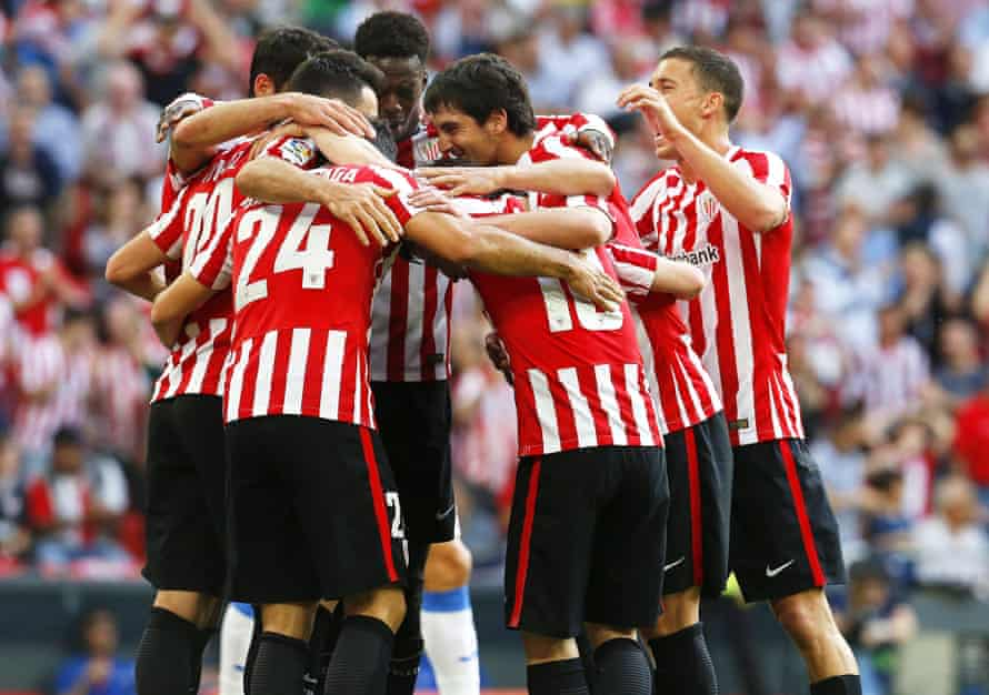 Athletic Bilbao players celebrate taking the lead against CD Leganes.