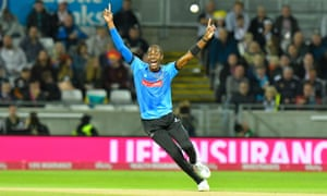 Jofra Archer, playing for Sussex Sharks, appeals during the final of the T20 Finals Day 2018 match against Worcestershire Rapids.