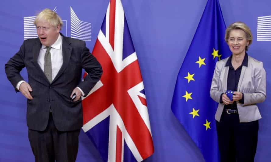 European Commission President Ursula von der Leyen welcomes British Prime Minister Boris Johnson