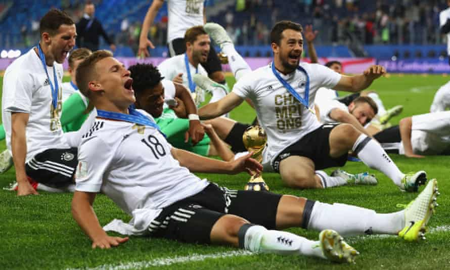 Joshua Kimmich celebrates with Germany team-mates after winning the Confederations Cup in Russia last year.
