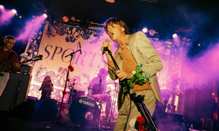 Occasionally offers the crowd pieces of foliage … Alex Rice of Sports Team, Scala, London.