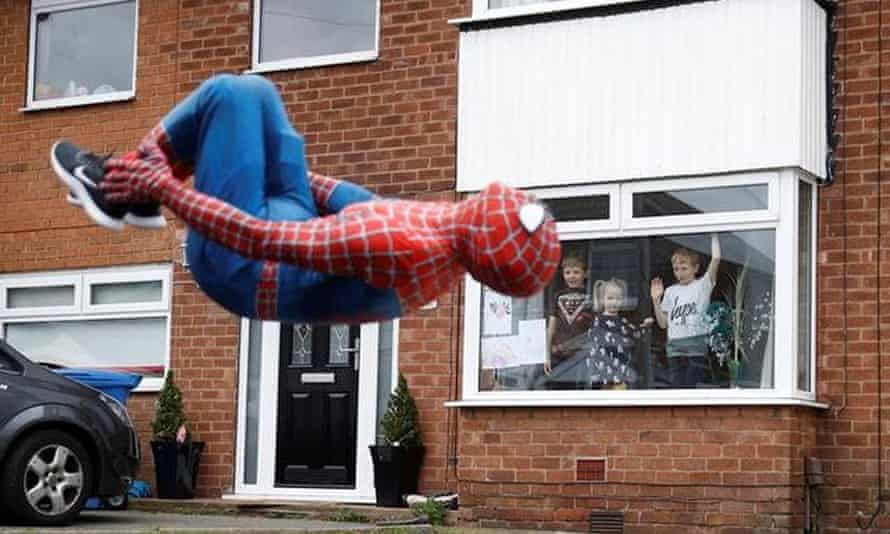 Stockport Spider Men bringing smiles to children in lockdown by Jason Baird