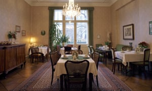 The breakfast room at the Pension Funk, once the apartment of Asta Nielsen.