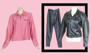 Sandy's 'pink ladies' jacket  given to Newton-John by the cast and crew of Grease (left), plus the trousers and leather jacket from You're the One That I Want scene.