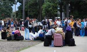 Venezuelans cross the border into Cúcuta, Colombia. The masses of Venezuelan migrants disperse into cities across Colombia, but the Yukpa's presence on the border has irritated local authorities.