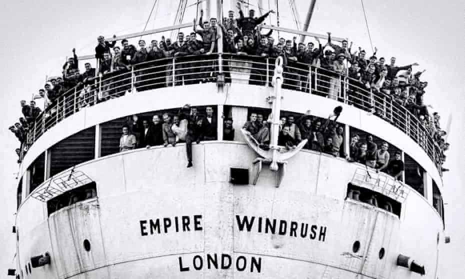 The Empire Windrush arrives at the Port of Tilbury on the River Thames, 1948. Photograph: Alamy