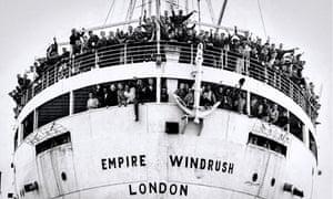 the arrival of the MV Empire Windrush at Tilbury Docks in 1948