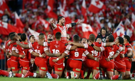 Andrew Fifita leads the Sipi Tau during the Test match between Tonga and Australia at Mount Smart Stadium in Auckland.