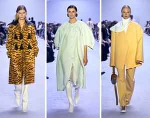 Jil SanderSandy yellows, spearmint green and milky creams; there was a softness to Jil Sander this season, courtesy of husband-and-wife design duo Luke and Lucie Meier. It extended to pastel paisley appliqué on dresses, cropped salmon trench coats and crocheted polo dresses with smocking, padding and folding techniques adding depth to the textures. To counter this light touch came strong shoulders, pointed lapels and one particular tiger-print velvet coat that is destined to be one of next season's hero pieces
