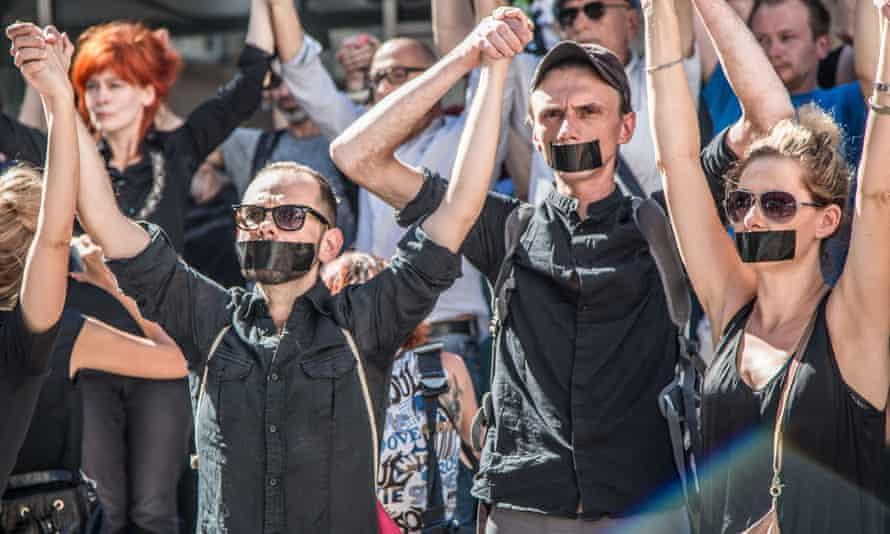 Members of the Polski theatre protest in September 2016.