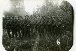 The group had just arrived in La Bassee, May 1916, when this photo was taken. Herbert Scott is second from the left.