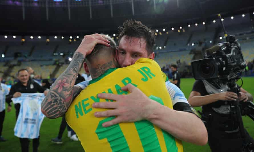 Lionel Messi with Neymar Jr after Argentina beat Brazil in the final of the Copa América last month.