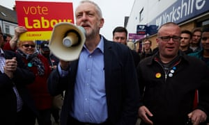 Corbyn campaigning for local elections in Hull while the storm around Ken Livingstone's antisemitic comments was breaking.