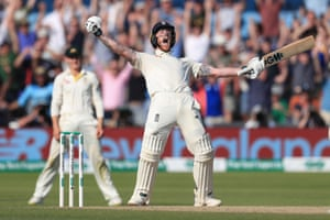 Ben Stokes celebrates hitting England's winning runs against Australia in the fourth Ashes Test at Headingley