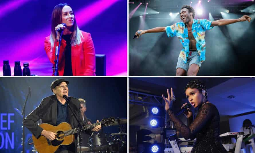 Composite summer festivals: (clockwise, from top left) Alanis Morisette, Childish Gambino, Janelle Monáe and James Taylor.