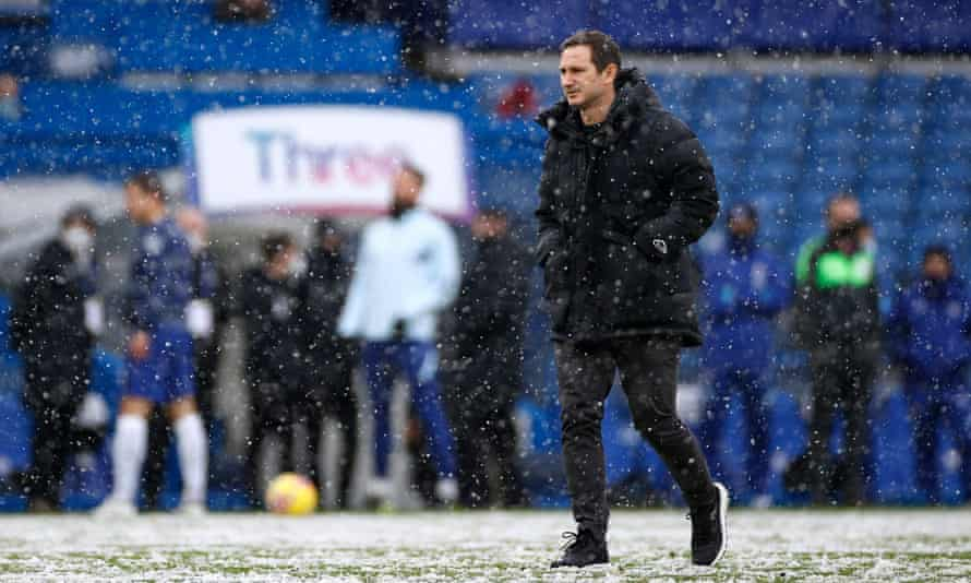 Frank Lampard in the snow at Stamford Bridge.