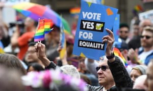 Marchers in favour of marriage equality in Melbourne