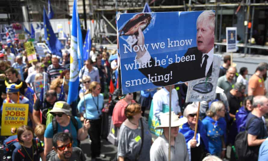 Protesters march to Parliament Square on 20 July during a 'No To Boris, Yes To Europe' march.