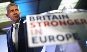 Lord Rose with a sign that says 'Britain Stronger in Europe'